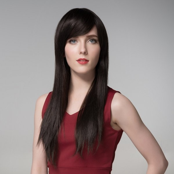 Long Straight Human Hair Virgin Remy Mono Top Capless Side Bang Wig 8 Colors