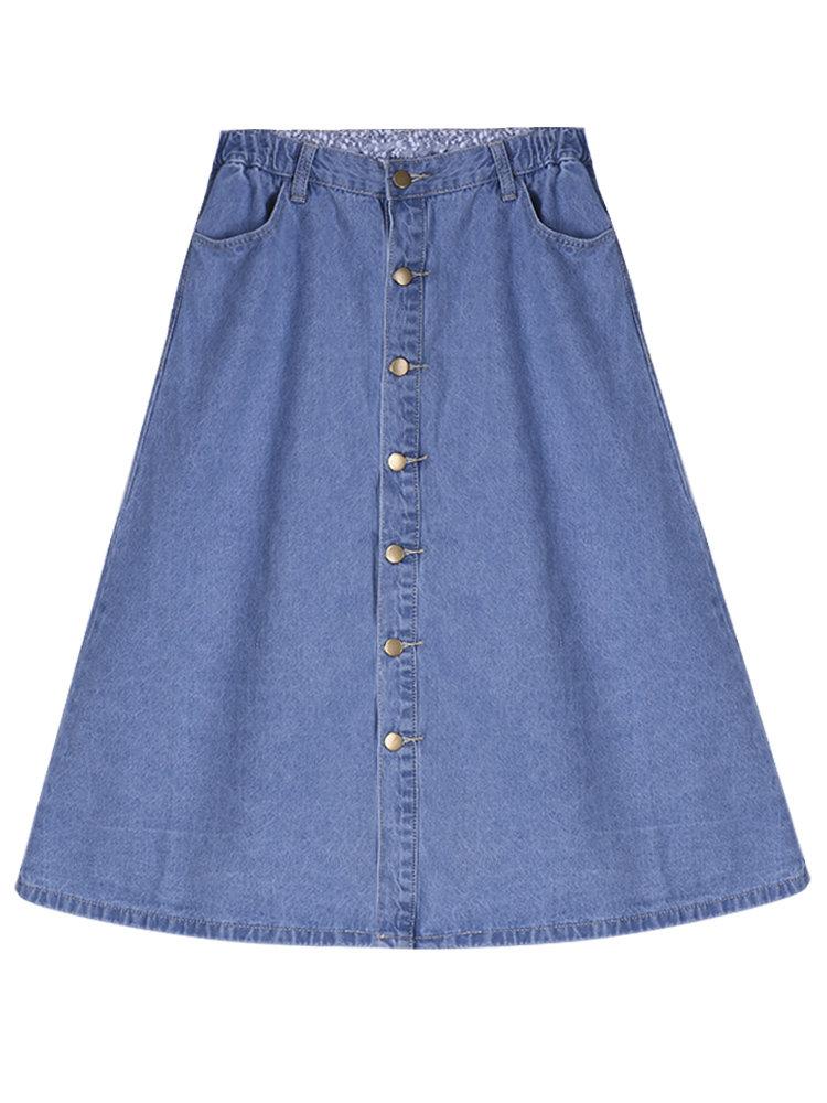 Урожай Высокая талия A-линия Midi Denim юбка для женщин