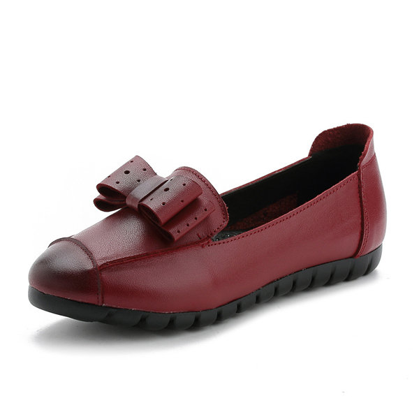 Hollot Out Butterfly Knot Slip On Soft Leather Casual Lazy Shoes