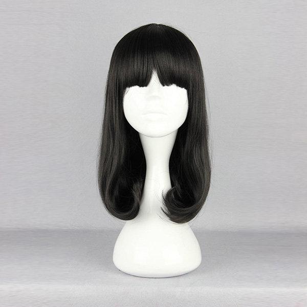 Harajuku Черный Полный взрыва Прямая синтетического волокна высокой температуры косплей парик костюма волос аниме