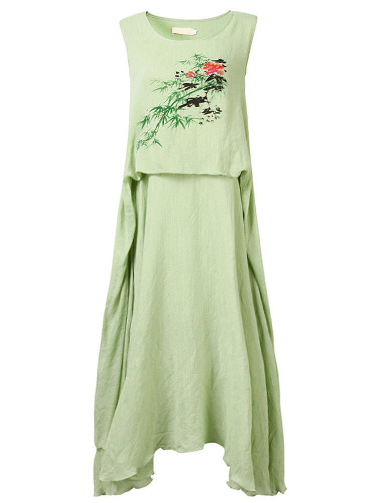 Vintage Floral Printed Sleeveless Double Layer Long Maxi Dress