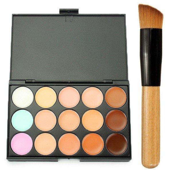 15 Colors Concealer Palette Blending With Makeup Brush Wooden Handle
