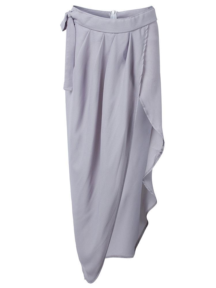 Сексуальные женщины Асимметричная Pleats щелевая Maxi-Бич юбка