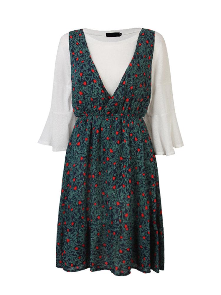 Two Piece T-Shirt Floral Strap Dress Loose Set Suit For Women