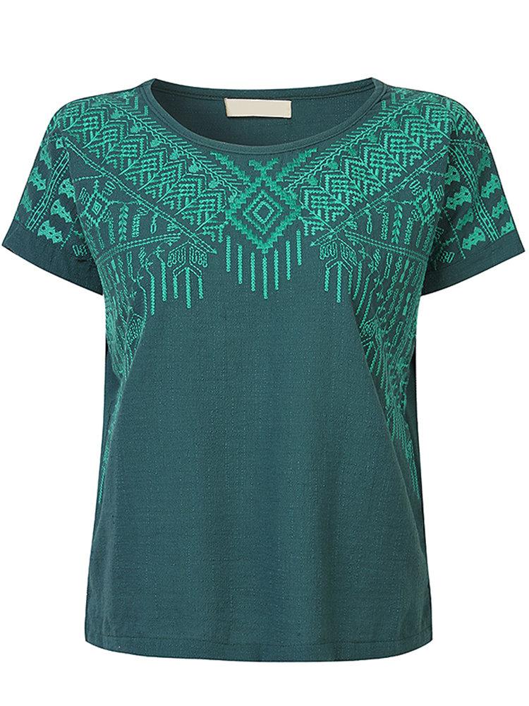 Повседневный вышивки O-образным вырезом с коротким рукавом Сплит футболки для женщин
