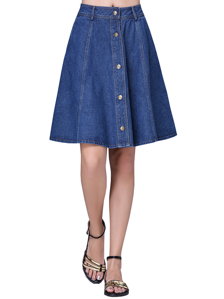 Casual Pure Color Single Breasted A-line Denim Skirt For Women