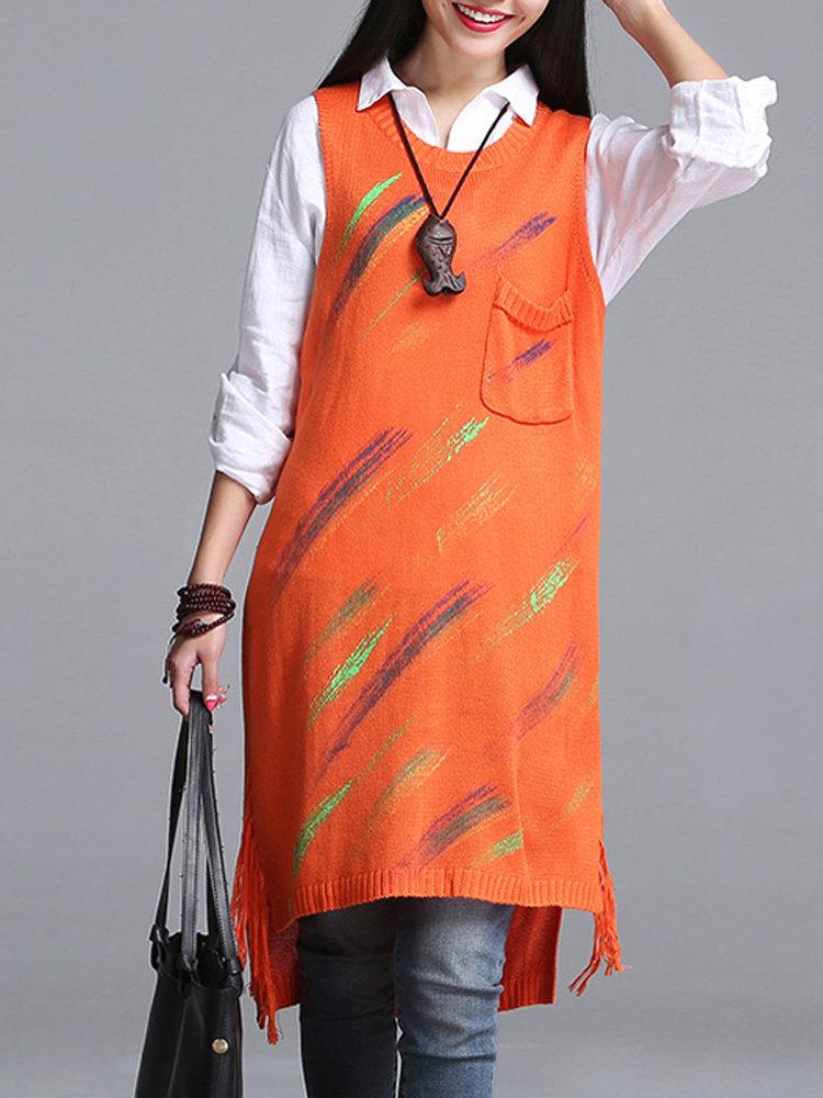 Women Folk Style Sleeveless Pocket Printed Split Long Knit Sweater