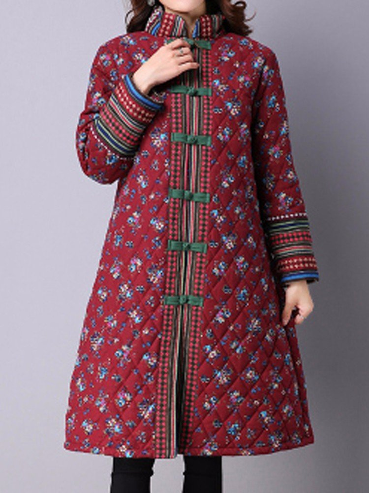 Gracila Women Ethnic Floral Printed Plate Buckle Long Sleeve Thicken Coat