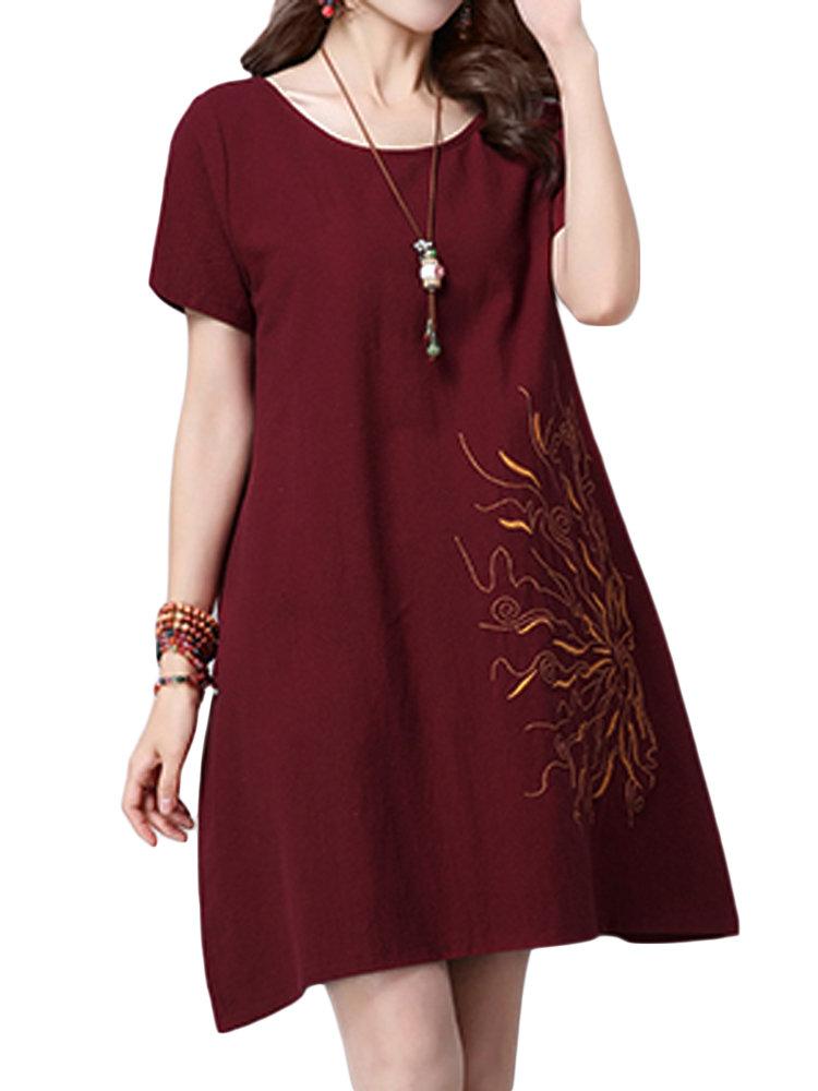 Women Embroidery O-Neck Cotton Linen A-Line Dress
