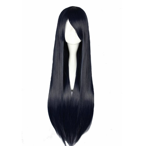 Black Long Straight Synthetic Fiber High Temperature Cosplay Wig Anime Costume Hair
