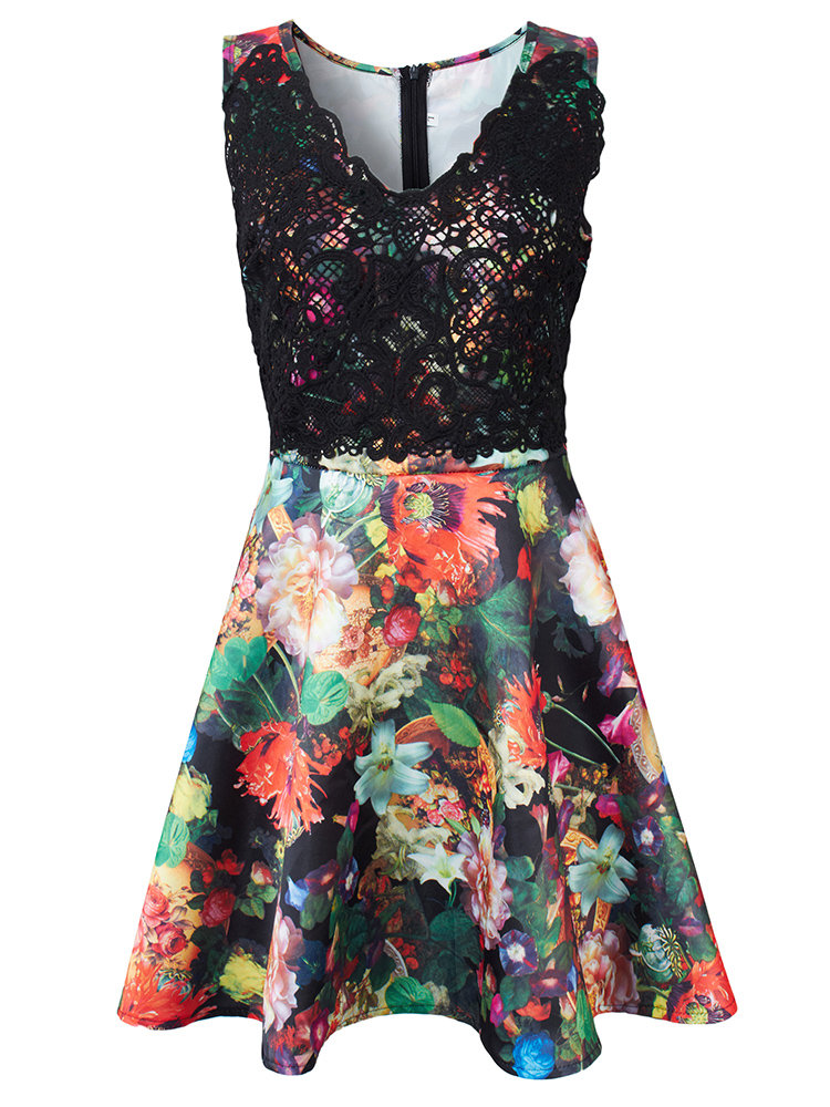 Party Sleeveless Floral Printed Crochet Splicing Stitching V Neck A-line Dress