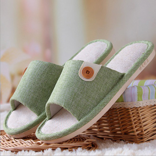 Button Casual Home Peep Toe Indoor Slippers For Women