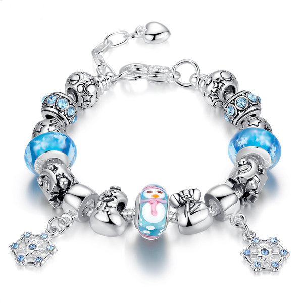 Christmas Glass beads Snowflakes Bracelet