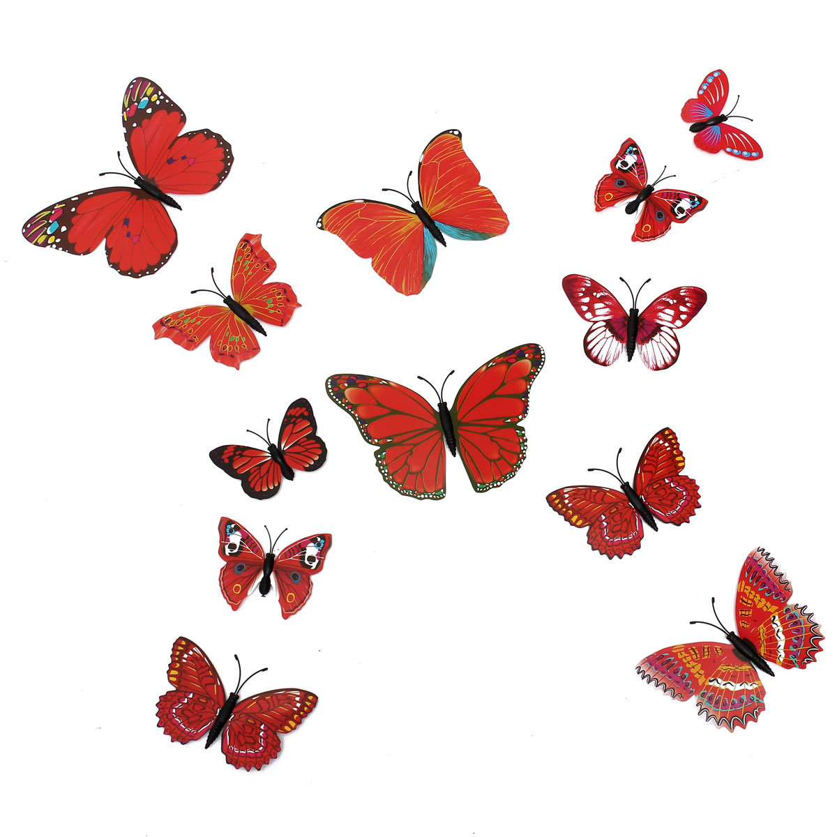 12Pcs 3D Stickers Red Butterfly Home Wall Decals Wedding Party Decoration