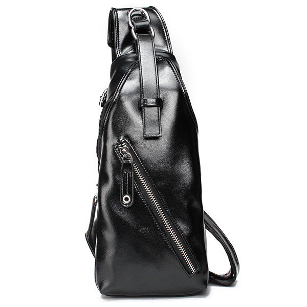 Men PU Leather Crossbody Bag Casual Travel Chest Bag