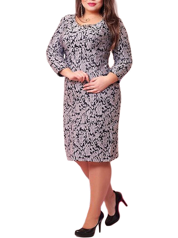 Women Floral Printed Bodycon Straight Party Dress