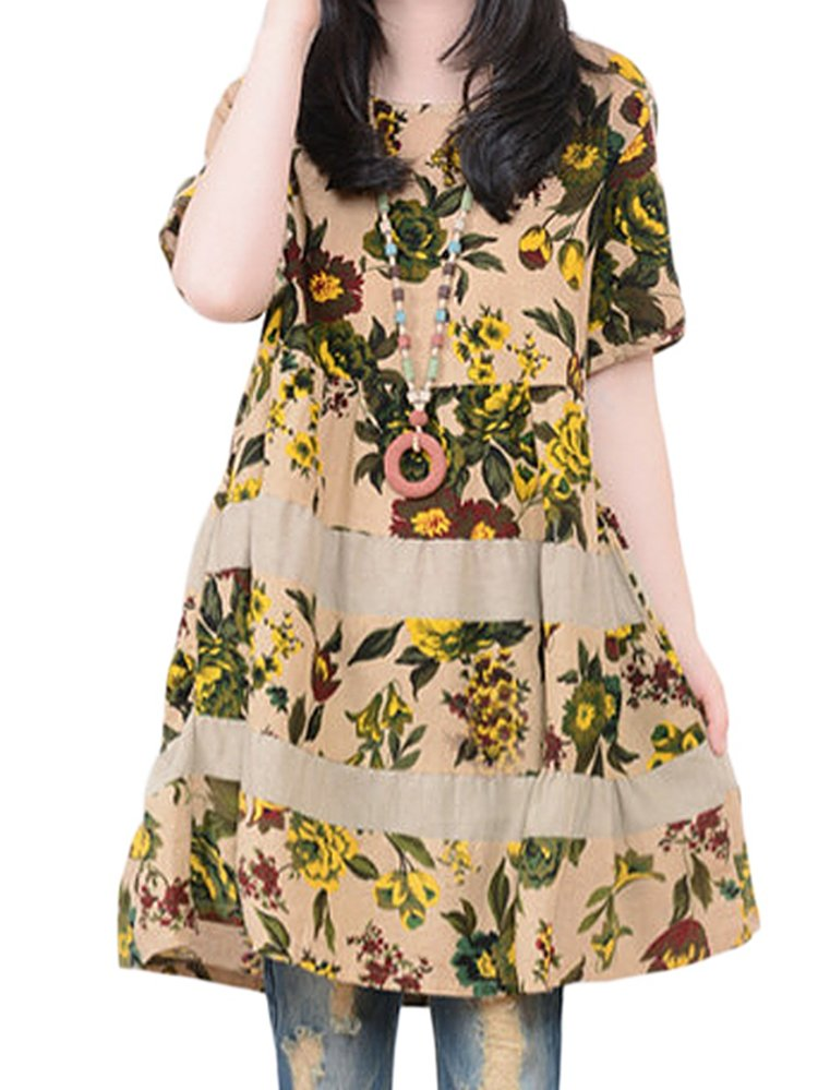 Boho Floral Printed Loose Short Sleeve Vintage Women Dress