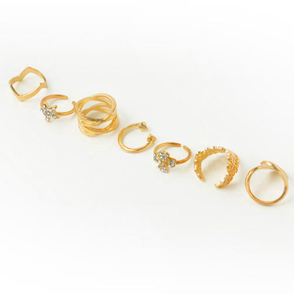 7 pcs Crystal Hollow Knuckle Stacking Unique Rings