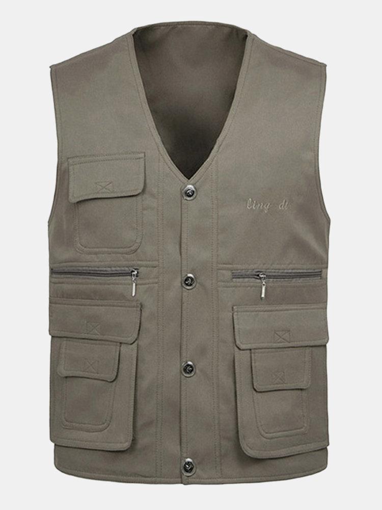 Outdoor Multi-Pocket Fishing Vest Casual Loose Waistcoat Coats For Men