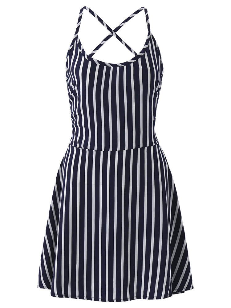 Women Sexy Stripe Halter Backless O-neck Sleeveless Mini Dress