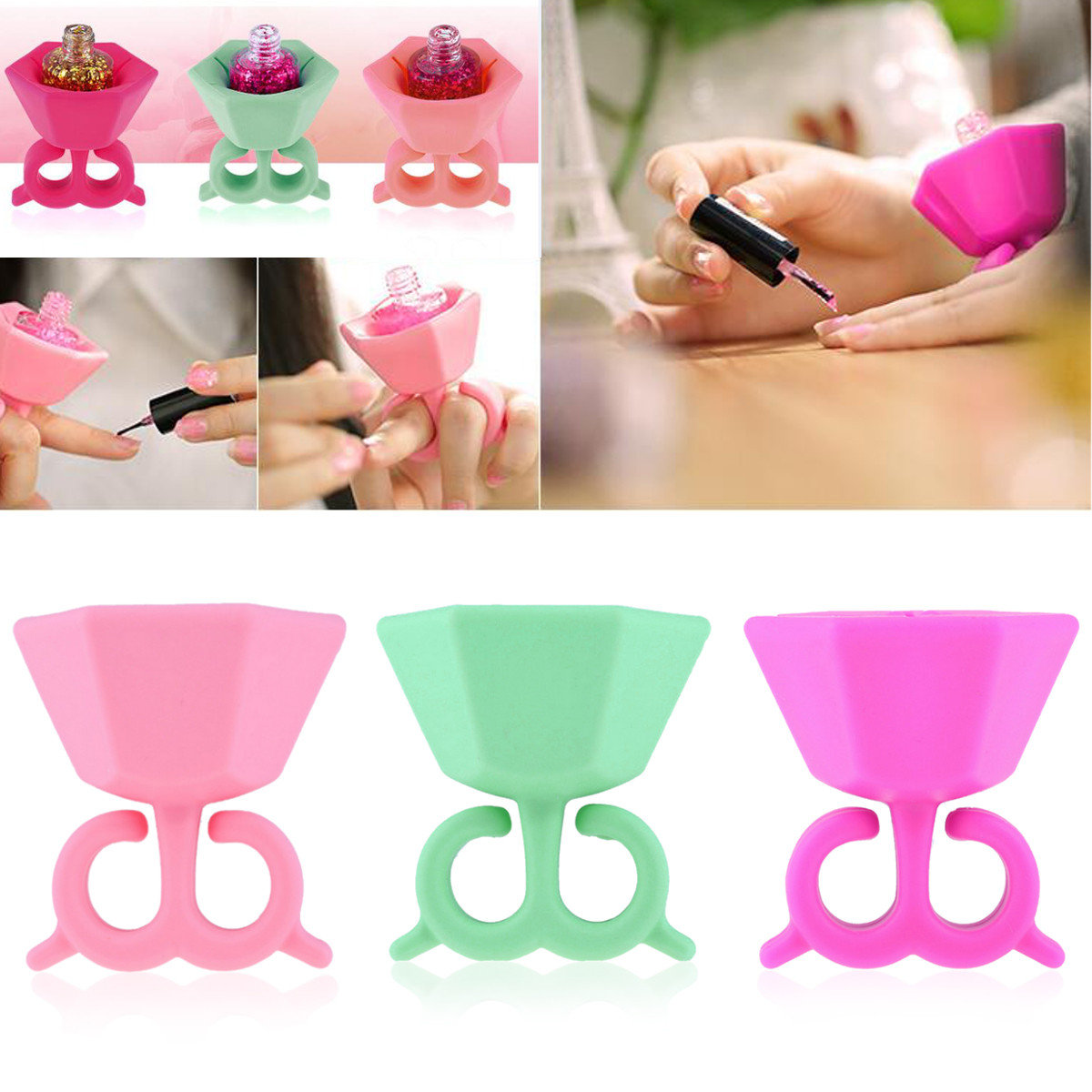 3 Colors Nail Polish Bottle Holder DIY Manicure Tools Tips Varnish Stand