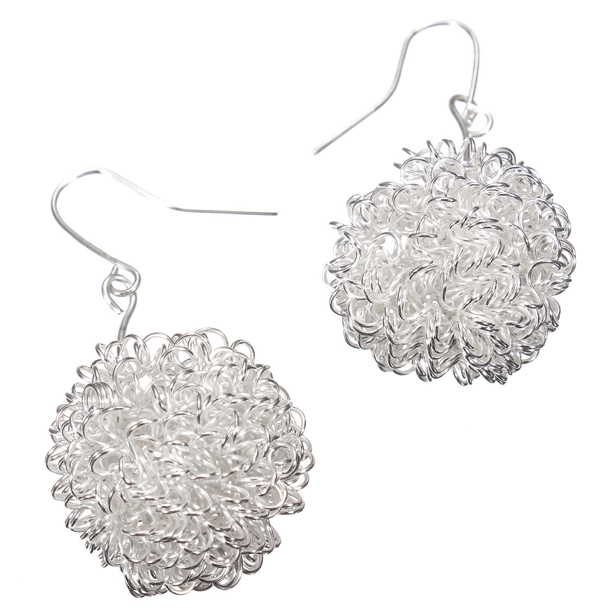 Silver Wire Winding Hollow Balls Stud Earrings