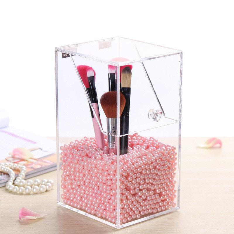 Акриловые Clear Контейнер для хранения пылезащитный чехол для макияжа Box Косметические кисти держатель Организатор