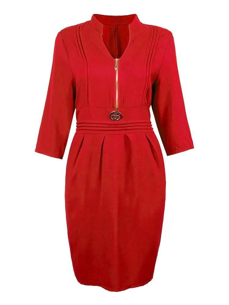 Loose Women Solid Quarter Sleeve Front Zipper Dress
