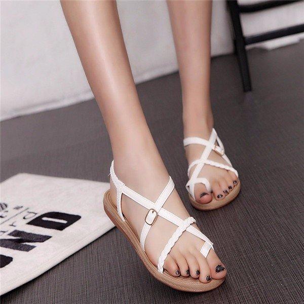 Pu Pure Color Bandage Strappy Clip Toe Flat Roman Sandals Gladiators