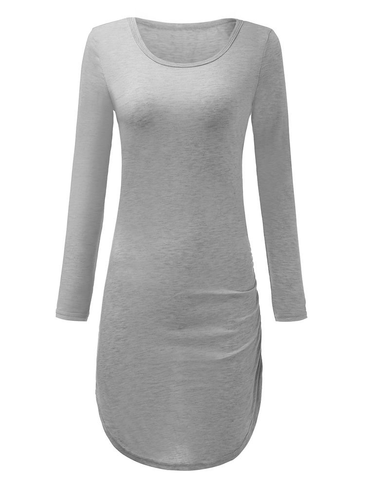 Bodycon Long Sleeve Solid Pencil Sexy Pullover Women Dress