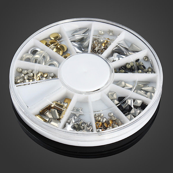 12 Mixed Styles 3D Gold Silver Metal Rivets Nail Decoration Wheel Copper Sheet