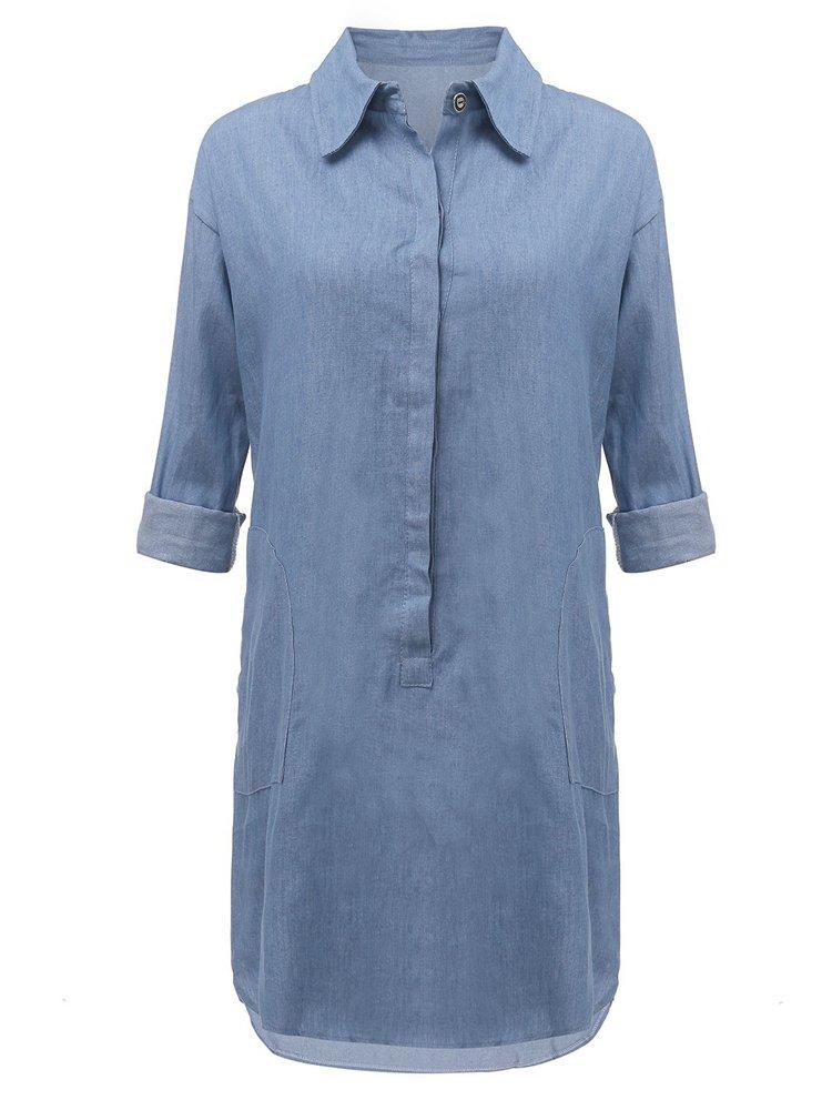 Сыпучие с длинным рукавом Повседневная Женщины Жан Мини платье рубашка
