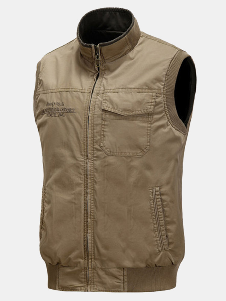 Jeep Rich Plus Size Double Sided Outdoor Casual Multi-Pocket Fishing Waistcoat For Men