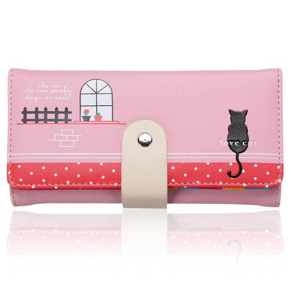 Женщины Длинные Cat шаблон печать ПУ кожаный бумажник