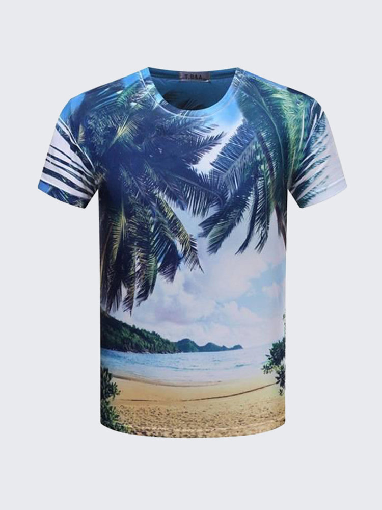 Summer Mens Unique Double-sided Scenery 3D Printing Short Sleeved T Shirts