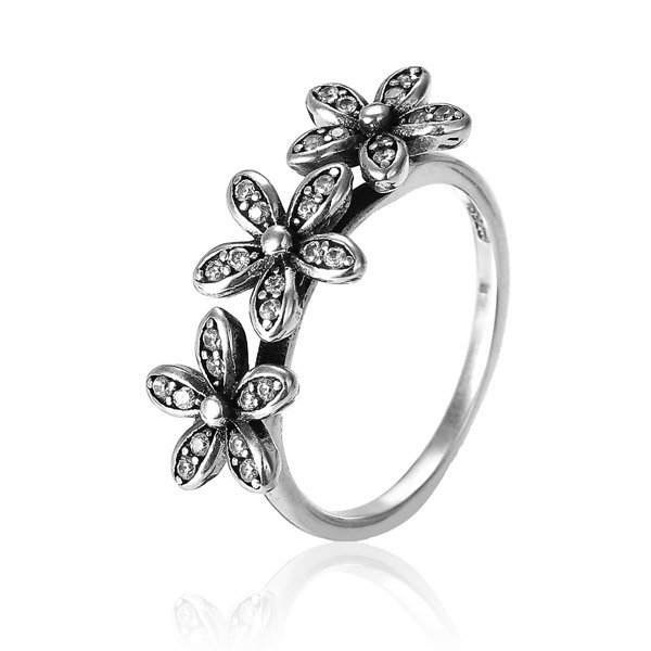 925 Sterling Silver Inlaid Crystal Flower Ring
