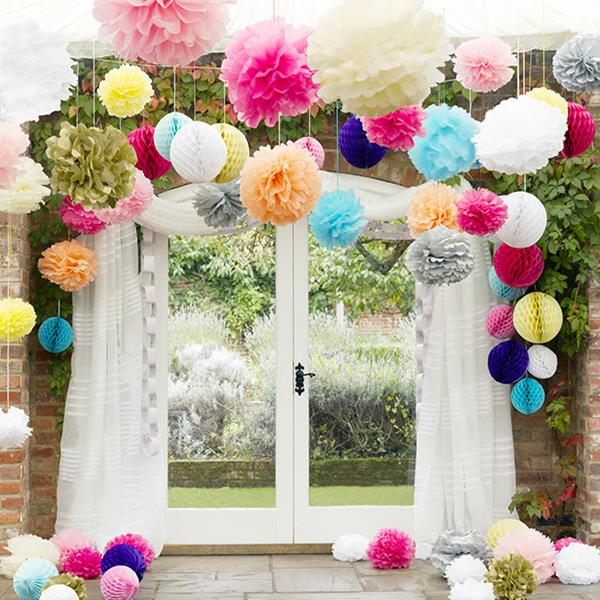 Tissue Paper Pom Poms Flower Balls Wedding Party Stage Home Decoration