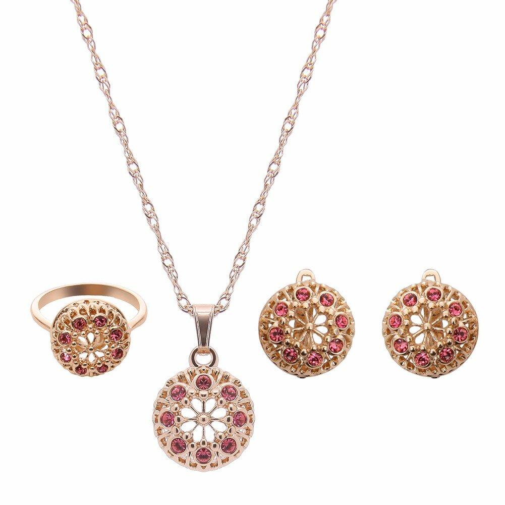 Комплект ювелирных изделий сплава Rhinestone полые цветок ожерелье серьги
