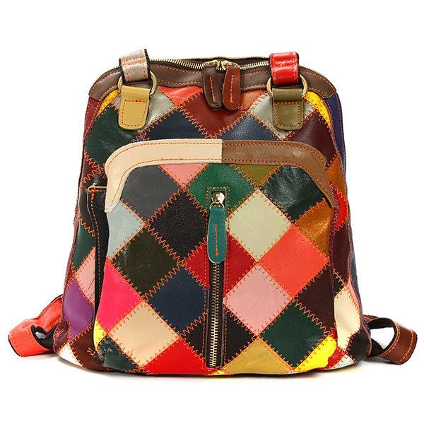 Women Vintage Contrast Color Backpack Ladies Genuine Leather Retro Bag