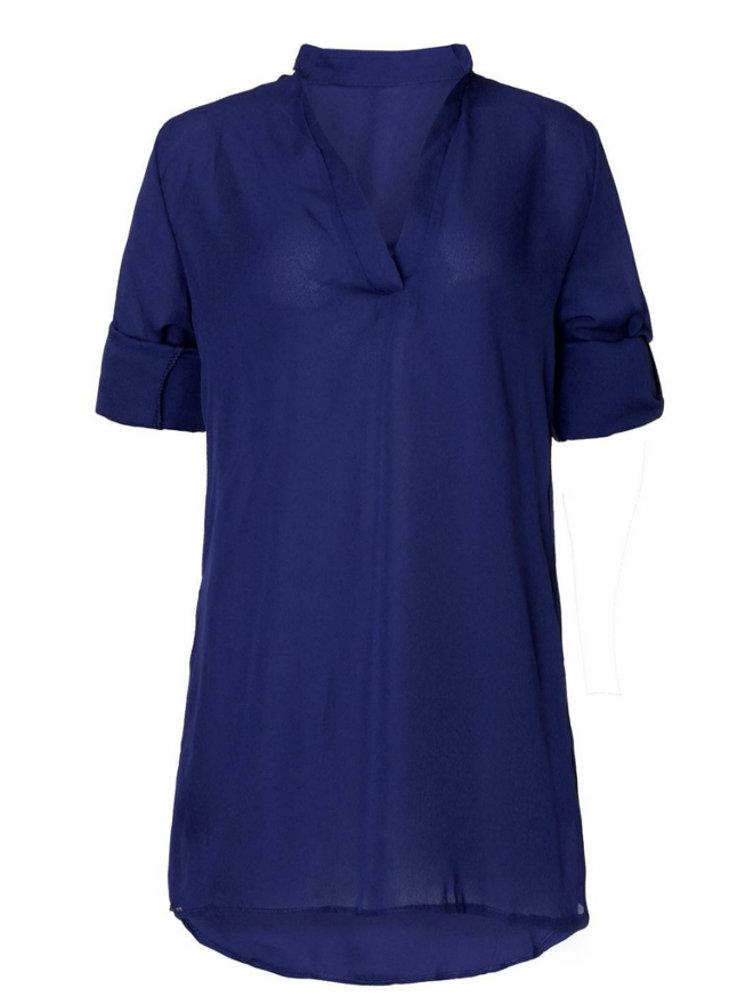 Сексуальные Женщины Плюс Размер V шеи длинным рукавом платье мини