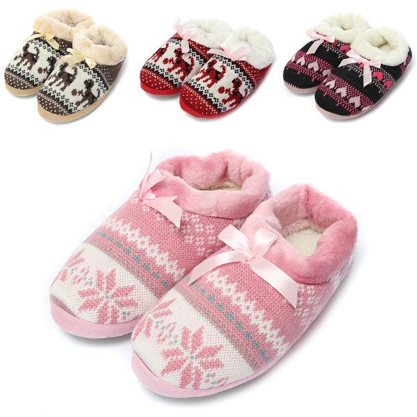 Cute Stripe Heart Dog Snowflake Knitting Soft Flat Home Indoor Slippers
