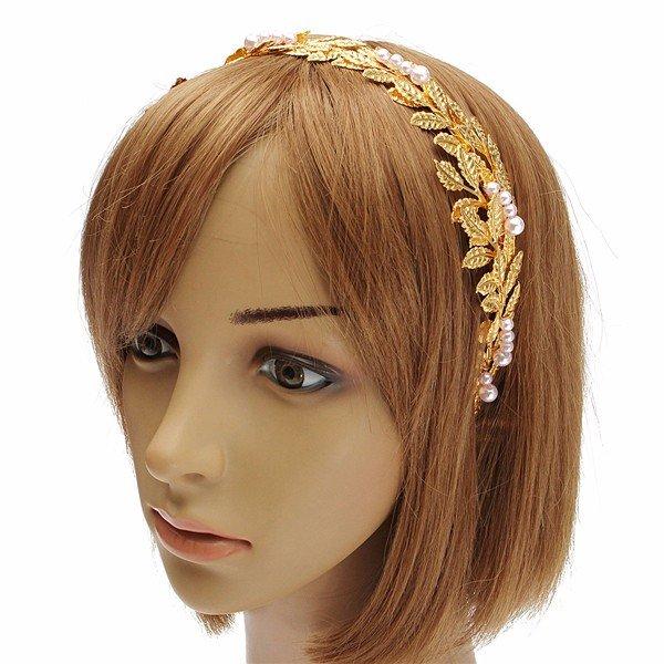 Женщины Ретро стиль Золотые листья головная повязка Hairwear
