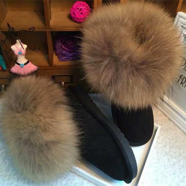Leather Black Furry Warm Fur Lined Ankle Snow Boot For Women