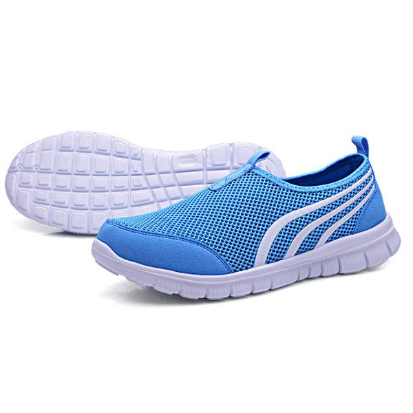 Men Women Lover Mesh Breathable Light Slip On Sport Casual Flat Shoes