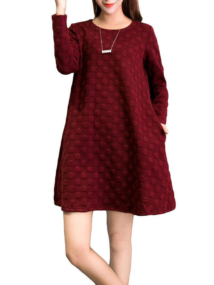 Elegant Loose Pure Color Dots Round Neck Mini Dress For Women