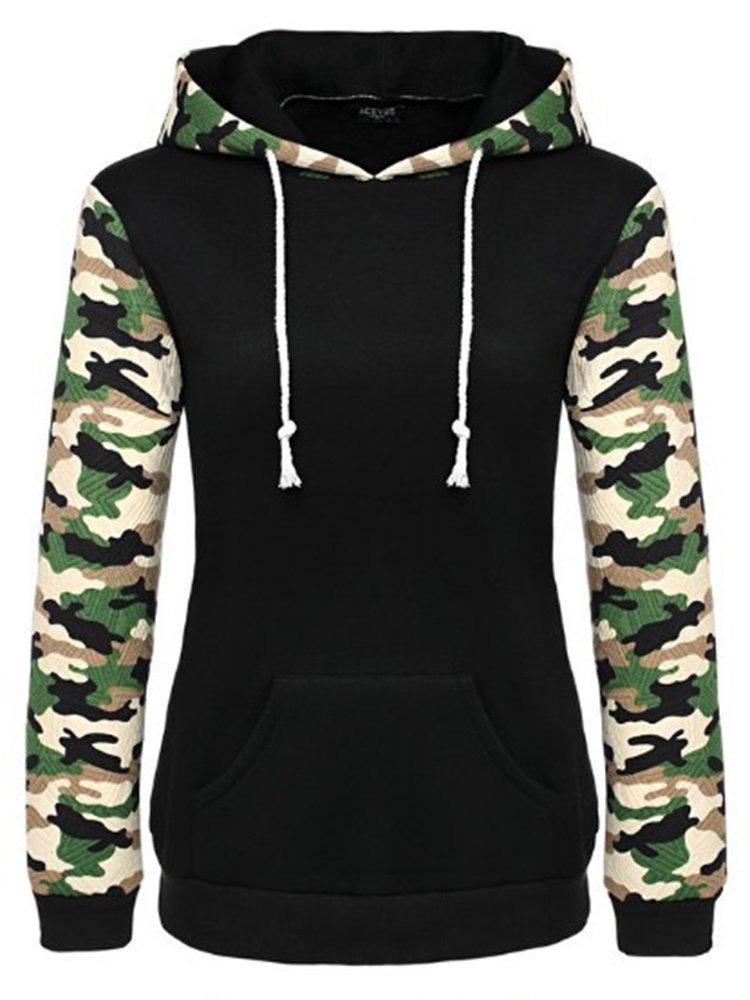 Women Casual Camouflage Sleeve Hooded Cotton Sweatshirt