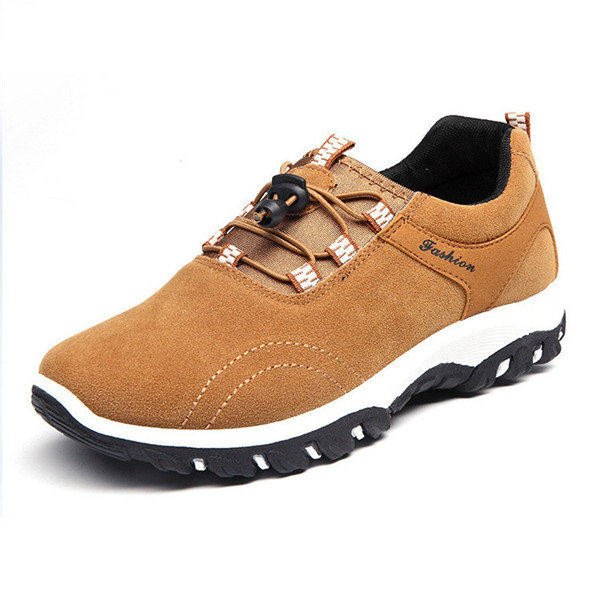 Suede Casual Lace Up Pure Color Sport Running Hiking Shoes