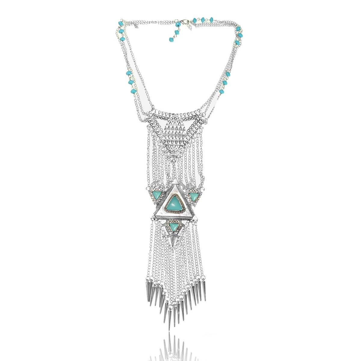 Silver Turquoise Triangle Tassel Statement Necklace