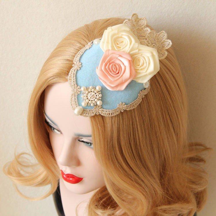 Лолита косплей Hairwear Роуз кружева Pearl Luxury Англия Шпилька ювелирные изделия