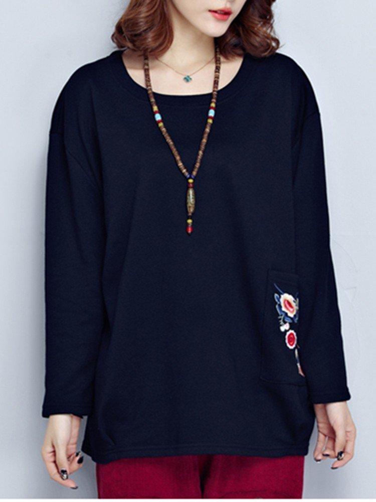 Ethnic Women Embroidery Long Sleeve Pocket Loose Sweatshirt